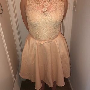 May Queen Dresses - Champagne Mini Dress
